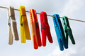 Cloth pegs with a under the sky Royalty Free Stock Photography