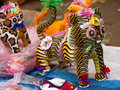 Cloth tiger handmade color in the chinese folk toys Royalty Free Stock Photo