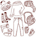 Clothes and accessories doodles Royalty Free Stock Photography