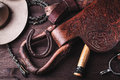 Clothes and accessories for horse riding vintage setting with from Royalty Free Stock Images