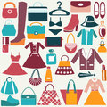 Clothes and accessories vintage icons color flat icon of fashion bag shopping Stock Photos