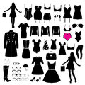 Clothes and accessory set of black with white pink elements Royalty Free Stock Image