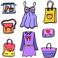 Clothes and bag women of doodles