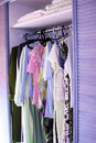 Clothes in closet Stock Photo