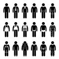 Clothes clothing attire for different occasions clipart various such as business prom casual labor safety underwear sleeping Stock Photos