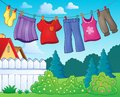 Clothes on clothing line theme image 1 Royalty Free Stock Photo