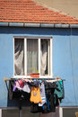 clothes drying at turkish ghetto in istanbul Royalty Free Stock Photo