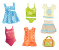 Clothes for girls set of summer Stock Photo