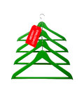 Clothes hangers in the form of a Christmas tree Stock Image