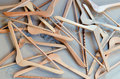 Clothes hangers pile of wooden on a cardboard Stock Photo