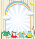 Clothes hanging under the sun near an entrance illustration of Royalty Free Stock Images