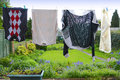 Clothes hanging from washing line Royalty Free Stock Photo