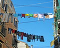 Clothes hung out to dry Stock Images