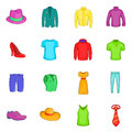 Clothes icons set, cartoon style