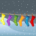 Clothes line for Christmas socks Stock Photo