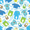 Clothes for newborn baby boy seamless pattern Royalty Free Stock Photo