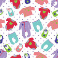 Clothes for newborn baby seamless pattern Royalty Free Stock Photo