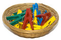 Clothes-peg basket Royalty Free Stock Photography