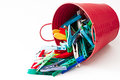Clothes pegs red bucket full of clothespins Stock Photos