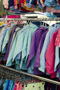 Clothes sale at market on or shop Royalty Free Stock Photo