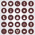 Clothes set of icons in the brown circles Stock Photos
