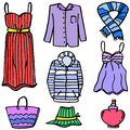 Clothes set object for women of doodles