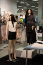 Clothes shop display of women s clothing with two mannequins Royalty Free Stock Photography