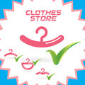 Clothes shop icons vector glossy sign symbol logo set button Stock Image