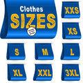 Clothes Size Label Marketing Tag Sticker Sewn Set Blue Royalty Free Stock Photo