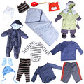 Clothes for small baby boy isolated on white background Royalty Free Stock Photo