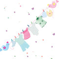 Clothes string cute birds carrying which is bearing baby s to dry surrounded by pleasant climate with flowers and butterflies Stock Photos