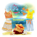 Clothes for the summer holidays collection of Royalty Free Stock Photography