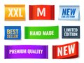 Clothes tags. Promo fabric badges, color cotton rectangular new, hand made and new collection banners. Textile labels