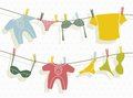Clothes on washing line vector illustration of the Royalty Free Stock Photos
