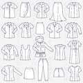 Clothes for women linear illustration