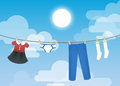Clothesline illustration depicting a family s laundry hanging against a beautiful blue sky backdrop Stock Photos