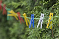 Clothespin colorful on a clothesline Royalty Free Stock Images