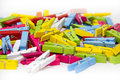 Clothespin many colored on white background Royalty Free Stock Image