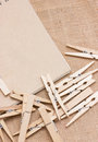Clothespin with notebook on sackcloth ecology concept Royalty Free Stock Images