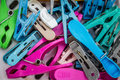 The clothespin old colorfull in basket Stock Images