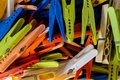 Clothespins close up view at the colorful Stock Photography