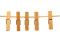 Clothespins hanging on a rope like a garland