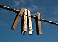 Clothespins on a line in a yard Royalty Free Stock Photos