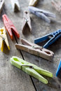 Clothespins on the table old wooden natural light Royalty Free Stock Image