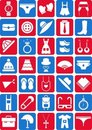 Clothing and accessories icons Stock Photography