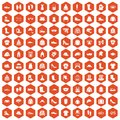 100 clothing and accessories icons hexagon orange