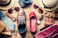 Clothing and accessories for men and women ready for travel - li Royalty Free Stock Photo