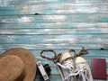 Clothing and accessories for women ready for travel - life style Royalty Free Stock Photo