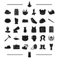 Clothing, cinema, Mongolia and other web icon in black style. journey, computer, mine icons in set collection.
