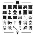 Clothing, construction, decoration and other web icon in black style. core, protection, tools icons in set collection.